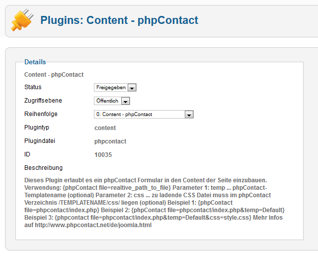 Screenshoot Joomla! 2.5 Plugin Administration