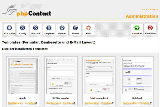 Administrationsbereich - Templates
